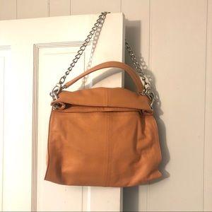 Leather shoulder bag fold over Coral Pink